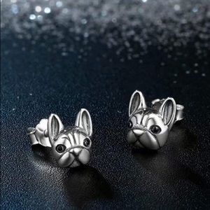 NEW 925 Sterling Silver French Bulldog Earrings